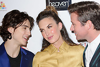Timothee Chalamet, Elizabeth Chambers &amp; Armie Hamme at the 38th Annual London Critics' Circle Film Awards at the Mayfair Hotel, London, UK. <br /> 28 January  2018<br /> Picture: Steve Vas/Featureflash/SilverHub 0208 004 5359 sales@silverhubmedia.com