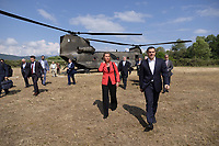 Pictured: Greek Prime Minister Alexis Tsipras arrives at Prespa Lake in northern Greece. Sunday 17 June 2018<br /> Re: Greece and the Former Yugoslav Republic Of Macedonia (FYROM) have signed a deal that aims to settle a decades-long dispute over the country's name.<br /> Under the agreement, Greece's neighbour will be known as North Macedonia.<br /> Heated rows over Macedonia's name have been going on since the break-up of the former Yugoslavia, of which it was a part, and have held up Macedonia's entry to Nato and the EU.<br /> Greece has long argued that by using the name Macedonia, its neighbour was implying it had a claim on the northern Greek province also called Macedonia.<br /> The two countries' leaders, Mr Tsipras and his Macedonian counterpart Zoran Zaev announced the deal on Tuesday and have pressed ahead despite protests.<br /> The two countries' foreign ministers signed the deal on Lake Prespa on Greece's northern border on Sunday.<br /> The agreement still needs to be approved by both parliaments and by a referendum in Macedonia.