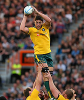 Australia's Rob Simmons gets lineout ball against New Zealand in the Bledisloe Cup rugby match, Forsyth Barr Stadium, Dunedin, New Zealand, Saturday, October 19, 2013. Credit:SNPA / Dianne Manson.