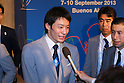 Ryosuke Irie, <br /> SEPTEMBER 7, 2013 : <br /> Ryosuke Irie celebrates after hearing Tokyo was announced as the winning city bid for the 2020 Summer Olympic Games at the 125th International Olympic Committee (IOC) session in Buenos Aires Argentina, on Saturday September 7, 2013. <br /> (Photo by YUTAKA/AFLO SPORT)