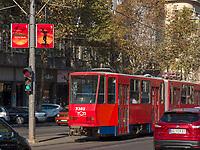 Stra&szlig;enbahn auf Bulevar Kralja Aleksandra, Belgrad, Serbien, Europa<br /> streetcar at Bulevar Kralja Aleksandra, Belgrade, Serbia, Europe
