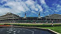 LOUISVILLE, KY - MAY 06: (Multiple Exposure Panoramic Image created in Camera) The view from the infield of the infamous Twin Spires on Kentucky Derby Day at Churchill Downs on May 6, 2017 in Louisville, Kentucky. (Photo by Scott Serio/Eclipse Sportswire/Getty Images)