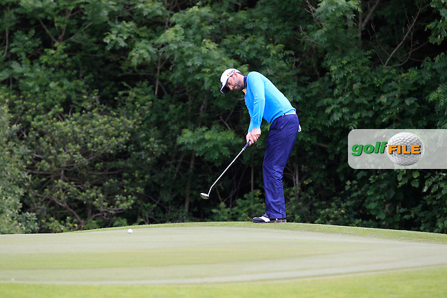 Dave O'Donovan (Muskerry) on the 1st green during Round 3 of the Irish Mid-Amateur Open Championship at New Forest on Sunday 21st June 2015.<br /> Picture:  Thos Caffrey / www.golffile.ie