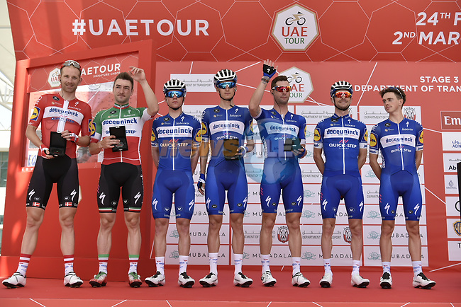 Deceuninck-Quick Step presented at sign on before the start of Stage 3 of the 2019 UAE Tour, running 179km form Al Ain to Jebel Hafeet, Abu Dhabi, United Arab Emirates. 26th February 2019.<br /> Picture: LaPresse/Fabio Ferrari | Cyclefile<br /> <br /> <br /> All photos usage must carry mandatory copyright credit (© Cyclefile | LaPresse/Fabio Ferrari)