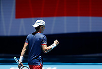 5th January 2020; RAC Arena, Perth, Western Australia; ATP Cup Australia, Perth, Day 3; Italy versus Norway; Casper Ruud of Norway fist pumps after defeating Fabio Fognini of Italy - Editorial Use