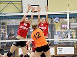 2016-01-09 / Volleybal / Seizoen 2015-2016 / Dames Geel &ndash; Herenthout / Willems (l.) en Van Noten (Geel) proberen de smah van Danis te onderscheppen<br /><br />Foto: Mpics.be