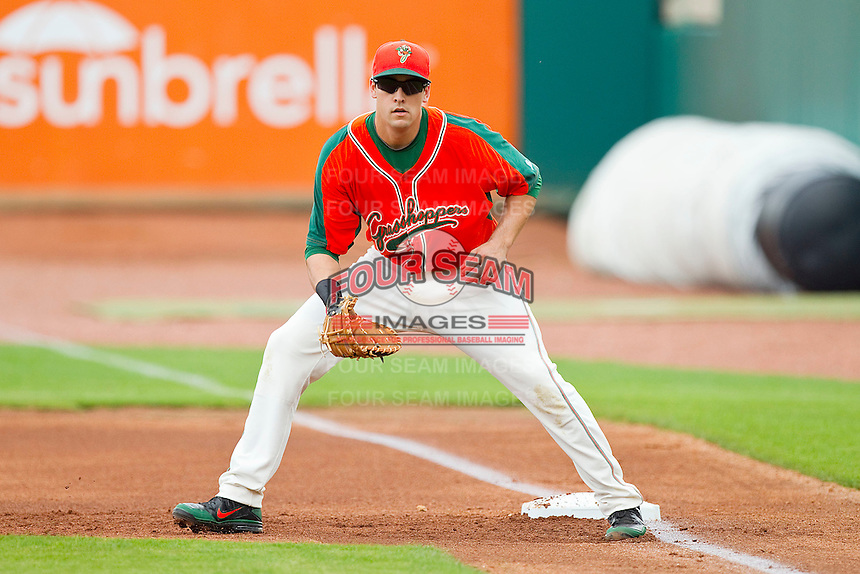 Greensboro Grasshoppers first baseman Ryan Rieger #26 on defense against the Kannapolis Intimidators at NewBridge Bank Park on May 16, 2012 in Greensboro, North Carolina.  The Grasshoppers defeated the Intimidators 10-8 in 11 innings.  (Brian Westerholt/Four Seam Images)