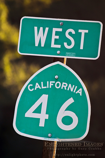 Highway Marker Sign for State Route 46 West out of Paso Robles, San Luis Obispo County, California