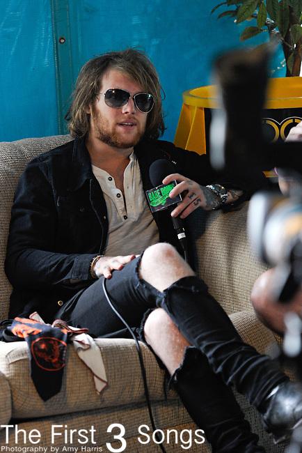 Danny Worsnop of Asking Alexandria backstage at the 2012 Rockstar Energy Drink Mayhem Festival at Blossom Music Center in Cincinnati, Ohio.