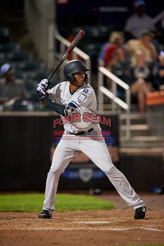 Staten Island Yankees right fielder Junior Soto (48) at bat during a game against the Aberdeen IronBirds on August 23, 2018 at Leidos Field at Ripken Stadium in Aberdeen, Maryland.  Aberdeen defeated Staten Island 6-2.  (Mike Janes/Four Seam Images)