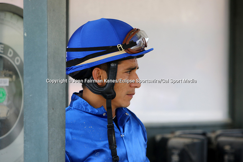August 29, 2015. Paco Lopez awaits the resolution of an objection after finishing second in race 7 on North Slope. Undercard races and scenes around the track on Smarty Jones Stakes Day at  Parx Racing in Bensalem, PA.  (Joan Fairman Kanes/ESW/CSM)
