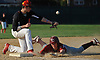 Tyler Cox #9 of Clarke, right, slides safely into safely into third base in the bottom of the sixth inning of a Nassau County Conference A-4 varsity baseball game against Mineola at BOCES Field in Westbury on Monday, May 7, 2018.