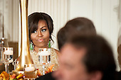 First Lady Michelle Obama looks on as Utah Republican Governor Gary Herbert toasts Vice President Joe Biden during a National Governors Association dinner and reception in the State Dining Room of the White House in Washington, D.C., U.S., on Sunday, Feb. 21, 2016. <br /> Credit: Pete Marovich / Pool via CNP