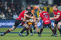 Jaguares' Pablo Matera takes the ball up during the 2019 Super Rugby final between the Crusaders and Jaguares at Orangetheory Stadium in Christchurch, New Zealand on Saturday, 6 July 2019. Photo: Dave Lintott / lintottphoto.co.nz