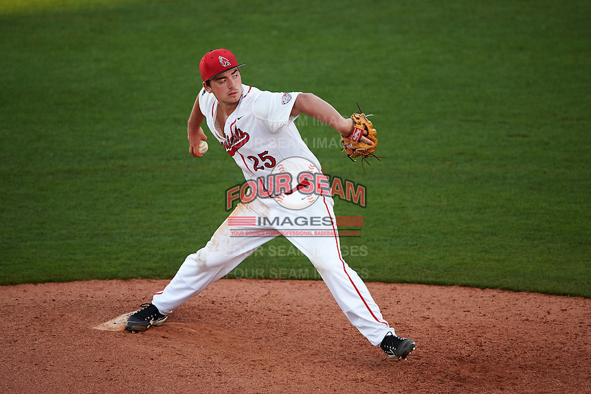 Ball State Cardinals relief pitcher John Baker (25) delivers a pitch during a game against the Louisville Cardinals on February 19, 2017 at Spectrum Field in Clearwater, Florida.  Louisville defeated Ball State 10-4.  (Mike Janes/Four Seam Images)