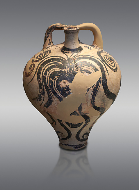 Mycenaean stirrup jar with painted octopus designs, Mycenae Chamner Tombs, 14th-13th Cent BC.  National Archaeological Museum Athens. Cat no 2772.  Grey Background