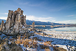 Mono Lake tufas surrounded by partially melted snow covered ground.The Sierra range and Mono Lake in the background. Blue skies.