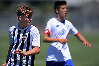 Action from the 2019 National Age Group Tournament Under-14 Boys football match between Auckland and Northern at Fraser Park in Lower Hutt, Wellington, New Zealand on Thursday, 12 December 2019. Photo: Dave Lintott / lintottphoto.co.nz