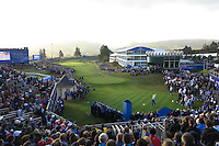 View of the 1st tee during the Saturday morning Fourballs of the 2014 Ryder Cup at Gleneagles. The 40th Ryder Cup is being played over the PGA Centenary Course at The Gleneagles Hotel, Perthshire from 26th to 28th September 2014.: Picture Kenneth E.Dennis, www.golffile.ie: \26/09/2014\