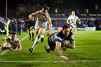 Matt Banahan of Bath Rugby dives for the try-line. Aviva Premiership match, between Bath Rugby and Exeter Chiefs on March 23, 2018 at the Recreation Ground in Bath, England. Photo by: Patrick Khachfe / Onside Images