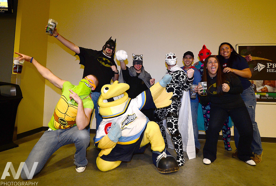 Nov 10, 2012; Toledo, OH, USA; Toledo Walleye mascot Spike against the Wheeling Nailers at Huntington Center. Mandatory Credit: Andrew Weber