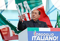 "Italian right Forza Italia party's leader Silvio Berlusconi speaks on the stage during the so-called ""Italian Pride!"" political rally against government's economic policies in St. John Lateran Square, Rome, Italy, October 19, 2019.<br /> Update Images Press/Riccardo De Luca"