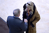 (L-R) Sean Spicer, incoming White House Press Secretary and Kellyanne Conway, named as Counselor to the President-elect Donald Trump, are seen talking in the lobby of the Trump Tower in New York, NY, on January 10, 2017. <br /> Credit: Anthony Behar / Pool via CNP