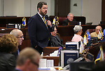 Nevada Senate Minority Leader Michael Roberson, R-Henderson, speaks on the Senate floor during a special Legislative session in Carson City, Nev., on Tuesday, June 4, 2013. Gov. Brian Sandoval called lawmakers into a special session after they missed meeting their end of session deadline by several minutes. (AP Photo/Cathleen Allison)