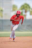 GCL Cardinals right fielder William Jimenez (12) runs the bases during a game against the GCL Mets on August 6, 2018 at Roger Dean Chevrolet Stadium in Jupiter, Florida.  GCL Cardinals defeated GCL Mets 6-3.  (Mike Janes/Four Seam Images)