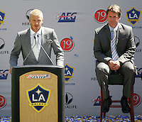 David Beckham at his LA Galaxy press conference, along with Head Coach Frank Yallop at the Home Depot Center in Carson, California, Friday, July 13, 2007.