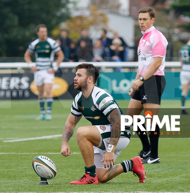 Ealing's Aaron Penberthy places the conversion kick during the Greene King IPA Championship match between Ealing Trailfinders and Bedford Blues at Castle Bar , West Ealing , England  on 29 October 2016. Photo by Carlton Myrie / PRiME Media