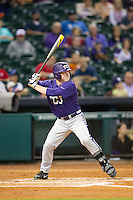 TCU Horned Frogs outfielder Boomer White #8 at bat during the NCAA baseball game against the Rice Owls on March 1, 2014 during the Houston College Classic at Minute Maid Park in Houston, Texas. Rice defeated TCU 1-0. (Andrew Woolley/Four Seam Images)
