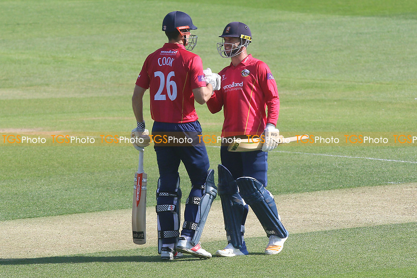 Alastair Cook of Essex (L) celebrates scoring a century, 100 runs and is congratulated by Ryan ten Doeschate during Essex Eagles vs Sussex Sharks, Royal London One-Day Cup Cricket at The Cloudfm County Ground on 10th May 2017