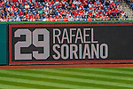 1 April 2013: The field level scoreboard displays pitcher Rafael Soriano and his number 29 during the Opening Day Game against the Washington Nationals at Nationals Park in Washington, DC. The Nationals shut out the Marlins 2-0 to launch the 2013 season. Mandatory Credit: Ed Wolfstein Photo *** RAW (NEF) Image File Available ***