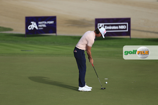 Kristoffer Broberg (SWE) on the 3rd green during Round 2 of the Omega Dubai Desert Classic, Emirates Golf Club, Dubai,  United Arab Emirates. 25/01/2019<br /> Picture: Golffile | Thos Caffrey<br /> <br /> <br /> All photo usage must carry mandatory copyright credit (© Golffile | Thos Caffrey)