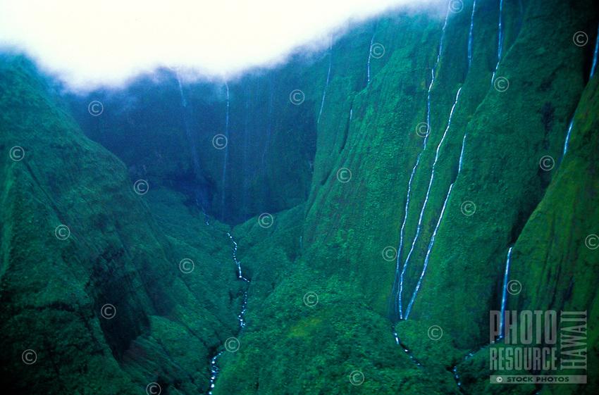 Waterfalls, Waialeale crater aerial, wettest spot on earth, Kauai