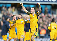 17th March 2019, The Den, London, England; The Emirates FA Cup, quarter final, Millwall versus Brighton and Hove Albion; Shane Duffy of Brighton & Hove Albion celebrates towards the Brighton & Hove Albion fans after full time as Brighton and Hove Albion beat Millwall 5-4 in the penalty shoot out to book there place in the Semi Final