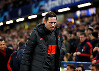 25th February 2020; Stamford Bridge, London, England; UEFA Champions League Football, Chelsea versus Bayern Munich; Chelsea Manager Frank Lampard looking concerned while in the dugout before kick off