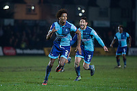 Sido Jombati of Wycombe Wanderers celebrates scoring his side's winning goal during the Sky Bet League 2 match between Newport County and Wycombe Wanderers at Rodney Parade, Newport, Wales on 22 November 2016. Photo by Mark  Hawkins.