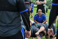 Forwards coach Neal Hatley in action. Bath Rugby pre-season training session on July 18, 2014 at Farleigh House in Bath, England. Photo by: Patrick Khachfe/Onside Images