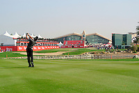Rory McIlroy (IRL) plays his 2nd shot on the 9th hole during Thursday's Round 1 of the HSBC Golf Championship at the Abu Dhabi Golf Club, United Arab Emirates, 26th January 2012 (Photo Eoin Clarke/www.golffile.ie)