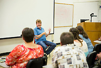 Mac McAnally speaks to music students in Music Building C Thursday before his evening performance at Lee Hall. McAnally, who holds the longest winning streak in Country Music Association awards history, will take the Bettersworth Auditorium stage at 7:30 p.m. Doors open at 6:30 p.m. General admission tickets are from $20 to $40. MSU's College of Education and Department of Music are sponsoring the concert.<br />