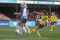 Danielle van de Donk of Arsenal scores the first goal for her team and celebrates during Brighton & Hove Albion Women vs Arsenal Women, Barclays FA Women's Super League Football at Broadfield Stadium on 12th January 2020