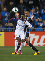 March 3rd, 2013: Yordany Alvarez tries to trap the ball front of Victor Bernardez during a game at Buck Shaw Stadium, Santa Clara, Ca.  Salt Lake Real defeated San Jose Earthquakes