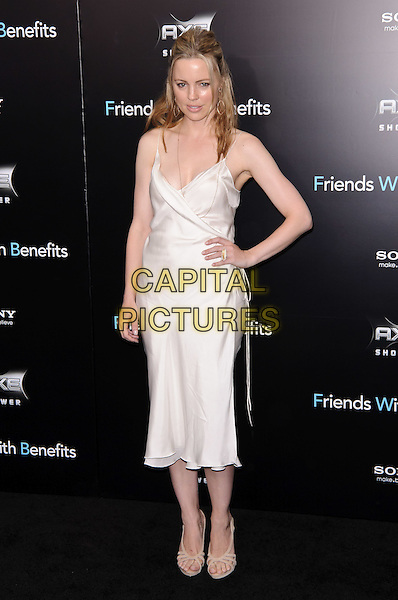 "Melissa George.""Friends With Benefits"" New York Premiere, New York City, NY, USA..July 18th, 2011.full length white dress hand on hip  wrap silk satin.CAP/ADM/CS.©Christopher Smith/AdMedia/Capital Pictures."