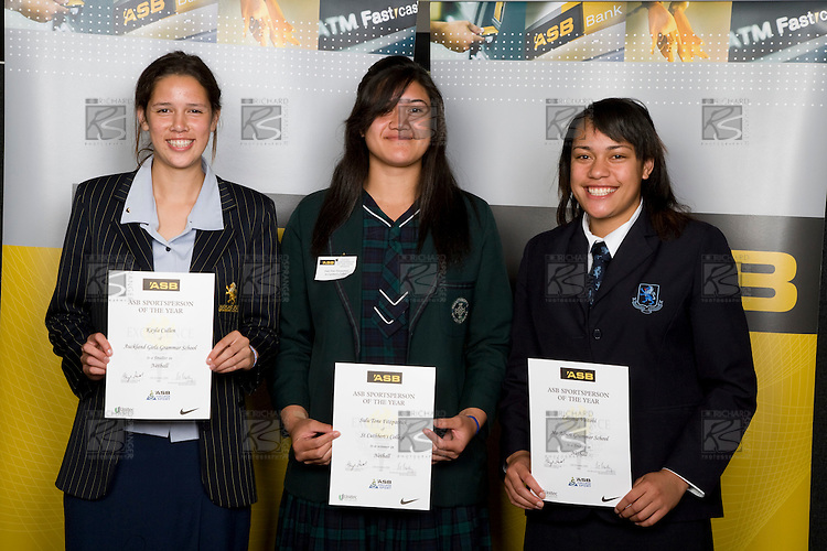 Girls Netbal finalists Kayla Cullen, Sulu Tone Fitzpatrick & Lavinia Vaitohi. ASB College Sport Young Sportperson of the Year Awards 2008 held at Eden Park, Auckland, on Thursday November 13th, 2008.