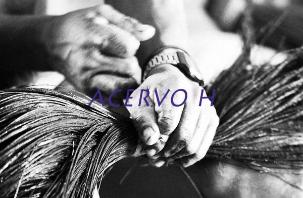 M&atilde;os habilidosas para trabalho produzido por &Iacute;ndios Werekena no alto rio Xi&eacute;, com fibras de pia&ccedil;aba(Leopold&iacute;nia p&iacute;assaba Wall). A fibra , um dos principais produtos geradores de renda na regi&atilde;o &eacute; coletada de forma rudimentar. At&eacute; hoje &eacute; utilizada na fabrica&ccedil;&atilde;o de cordas para embarca&ccedil;&otilde;es, chap&eacute;us, artesanato e principalmente vassouras, que s&atilde;o vendidas em v&aacute;rias regi&otilde;es do pa&iacute;s.<br />Alto rio Xi&eacute;, fronteira do Brasil com a Colombia a cerca de 1.000Km oeste de Manaus.<br />06/06/2002.<br />Foto: Paulo Santos/Interfoto Expedi&ccedil;&atilde;o Werekena do Xi&eacute;<br /> <br /> Os &iacute;ndios Bar&eacute; e Werekena (ou Warekena) vivem principalmente ao longo do Rio Xi&eacute; e alto curso do Rio Negro, para onde grande parte deles migrou compulsoriamente em raz&atilde;o do contato com os n&atilde;o-&iacute;ndios, cuja hist&oacute;ria foi marcada pela viol&ecirc;ncia e a explora&ccedil;&atilde;o do trabalho extrativista. Oriundos da fam&iacute;lia ling&uuml;&iacute;stica aruak, hoje falam uma l&iacute;ngua franca, o nheengatu, difundida pelos carmelitas no per&iacute;odo colonial. Integram a &aacute;rea cultural conhecida como Noroeste Amaz&ocirc;nico. (ISA)