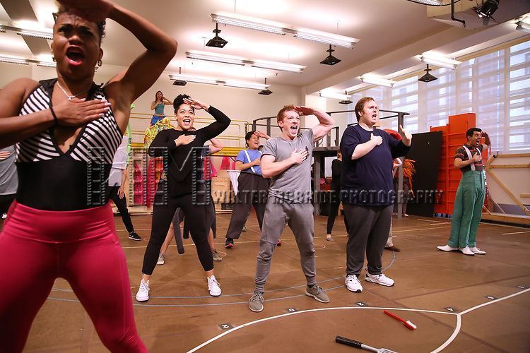 Lilli Cooper, Danny Skinner, Ethan Slater and Gavin Lee with cast during the Rehearsal Press Preview of the New Broadway  Musical on 'SpongeBob SquarePants'  on October 11, 2017 at the Duke 42nd Street Studios in New York City.