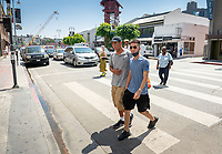 Incoming Occidental College first-year students explore Little Tokyo in Los Angeles as part of OxyEngage, Aug. 21-22, 2018.<br /> OxyEngage is a pre-orientation program that introduces incoming students to the vibrant city of Los Angeles. Over two days, upperclassmen facilitators lead trips to experience culture, film, food, nature, social justice, the urban environment, and much more! On an OxyEngage trip you will make fast friends, get to know your surrounding area, and find some stunning places you will want to return to time and time again.<br /> (Photo by Marc Campos, Occidental College Photographer)