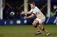 Joe Launchbury of Wasps passes the ball. Heineken Champions Cup match, between Bath Rugby and Wasps on January 12, 2019 at the Recreation Ground in Bath, England. Photo by: Patrick Khachfe / Onside Images
